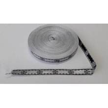 Galon bisericesc Sava 25 mm argintiu cu negru