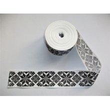 Panglica imprimata model popular alb cu negru 45 mm