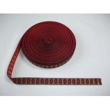 Banda tesuta Anca 20 mm - rosu cu auriu