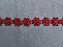 *Galon poliester flori - 25mm, rosu inchis