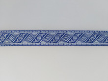Banda tesuta Emanuela 25 mm - pe albastru