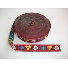 Banda tesuta Floare de colt 25 mm - fond rosu