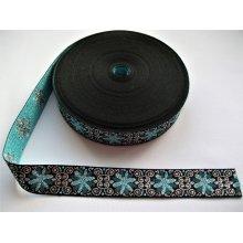 Banda tesuta Fulvia 25 mm - bleu cu argintiu