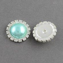 Nasturi cu strasuri si imitatie perla 16mm(M24) si 21mm(M34) - turcoaz deschis(N,S-6)
