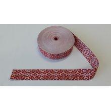 Banda tesuta Catrina 25 mm - alb cu rosu