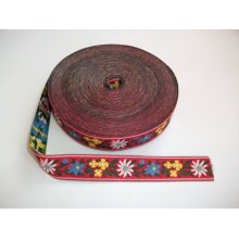 Banda tesuta Floare de colt 16 mm - fond rosu