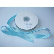 Panglica satinata ambele fete 25 mm bleu