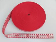 Galon bisericesc doua fețe, Sava - Nou, 25 mm rosu cu argintiu