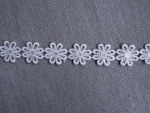 *Galon poliester flori - 25mm, alb