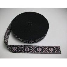 Banda tesuta Crenguta 25 mm argintiu cu negru