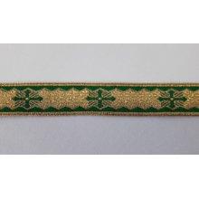 Galon bisericesc Sava 25 mm auriu cu verde