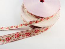 Banda tesuta Jesica 15mm, 28mm- rosu si auriu pe alb
