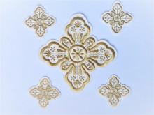 Ornament bisericesc cruce mica - ivoir cu auriu