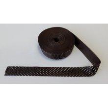 Panglica imprimata cu buline - maro inchis cu buline albe 25 mm - satinata