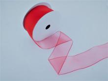 Panglica organza 25 mm rosu