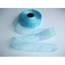 Panglica organza 40 mm bleu
