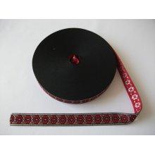 Banda tesuta Anca 13 mm, 20mm - rosu cu argintiu