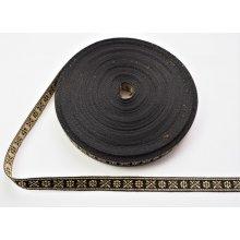 Banda tesuta Crenguta 10 mm auriu cu negru