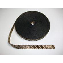 Banda tesuta Model grecesc 12 mm - auriu pe negru
