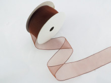 Panglica organza 41 mm maro roscat