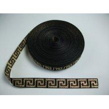 Banda tesuta Model grecesc 20mm - auriu pe negru