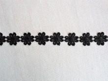 *Galon poliester flori - 25mm, negru