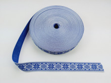 Banda tesuta Ana 25 mm - cu albastru