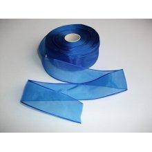 Panglica organza 25 mm albastru imperial