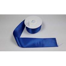 Panglica satinata ambele fete 50 mm albastra