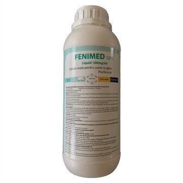 Fenidem- Floramfenicol 10% pt suine si pasari flacon de 1 litru pt 1000 litri apa