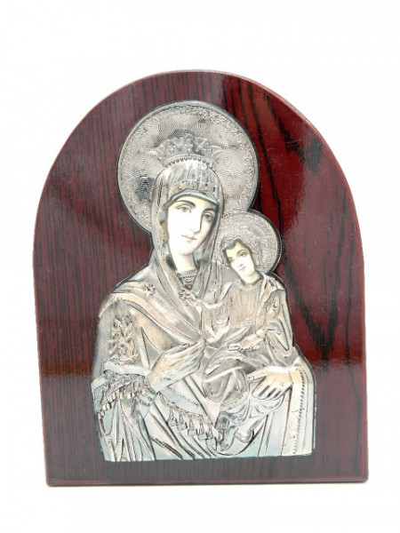 Icoana semirotunda pe lemn Maica cu Pruncul Iisus