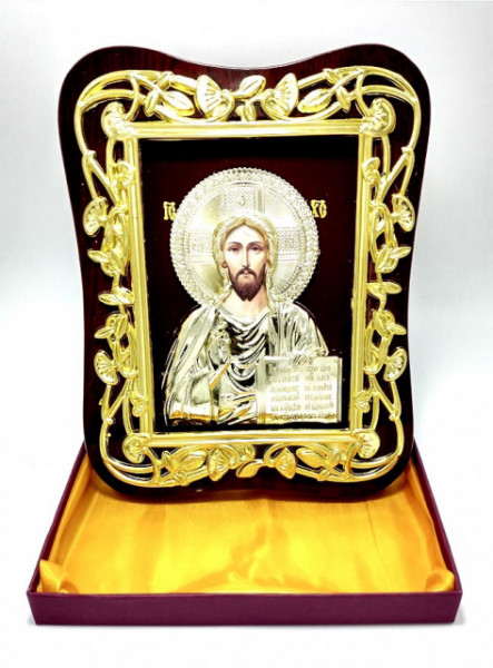 Icoana aurie Iisus Hristos Binecuvantand lumea