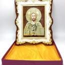 Icoana pe lemn cu rama aurita Iisus binecuvantand