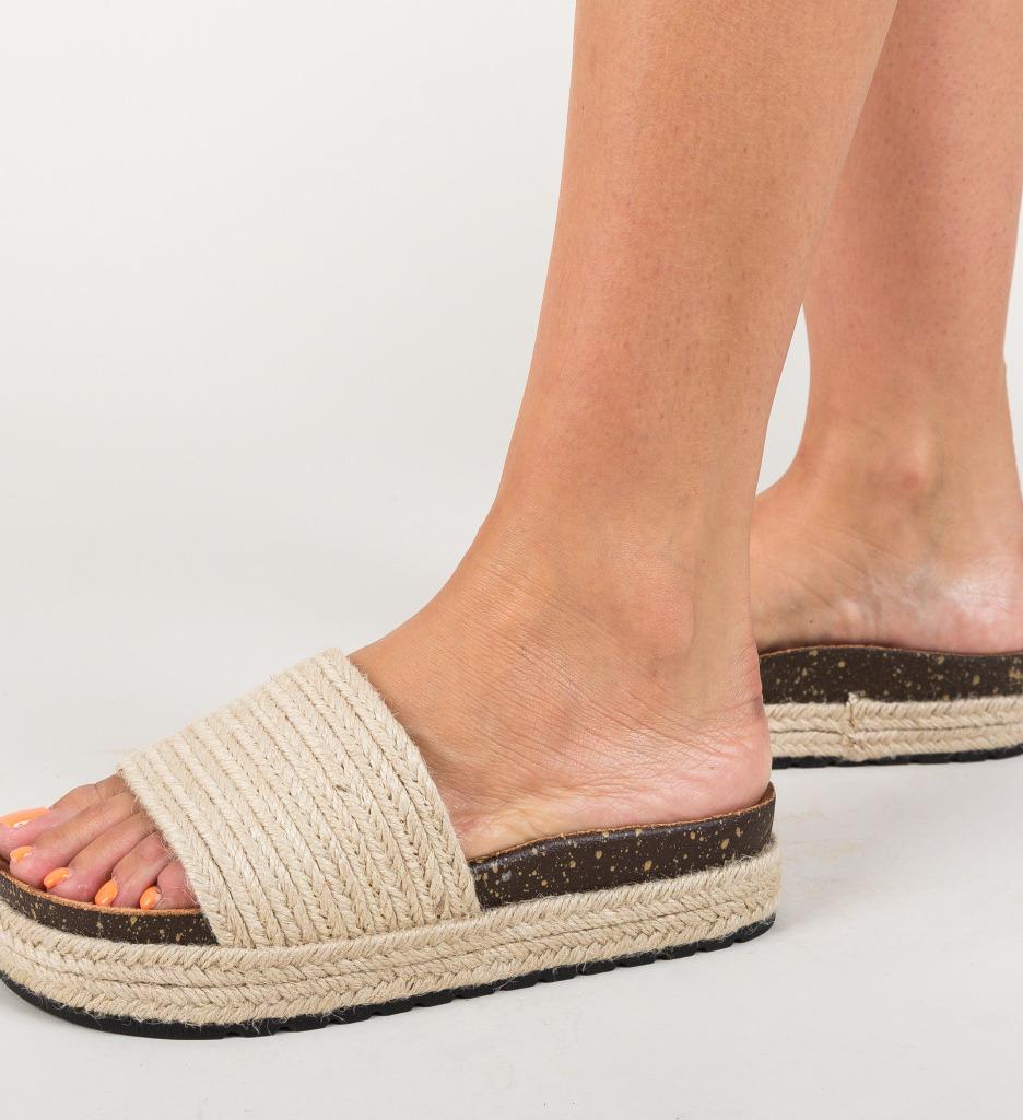 Papuci Maud Beige