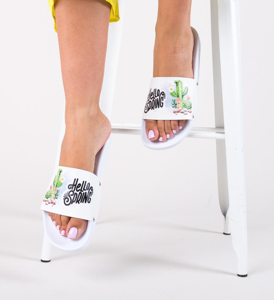 Papuci Cactus Albi