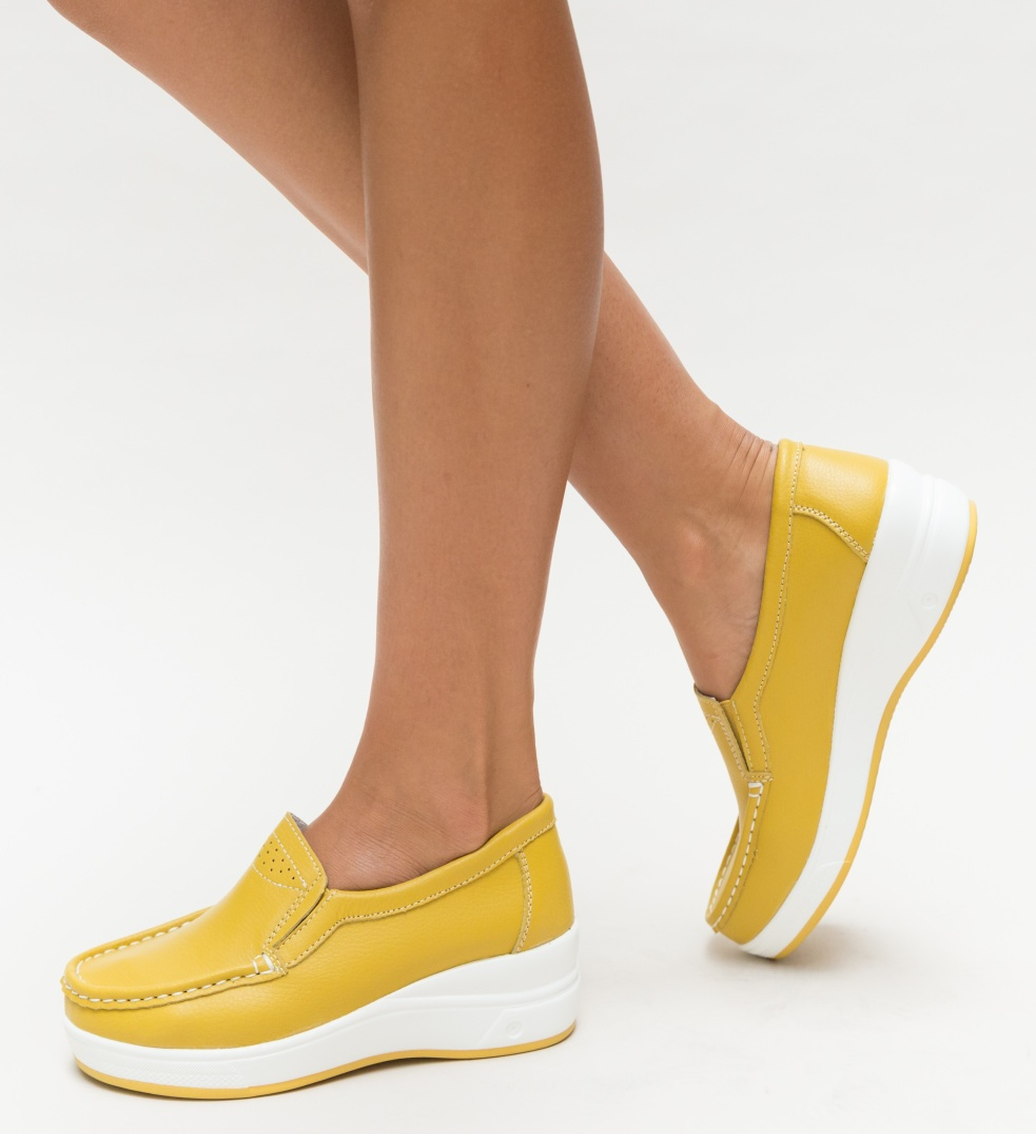 Pantofi Casual Maximo Galbeni imagine