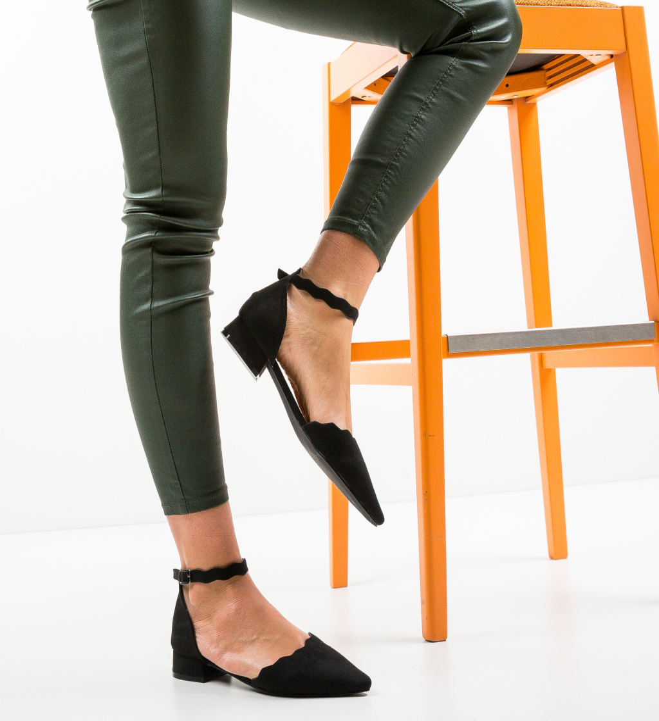 Pantofi Wood Negri