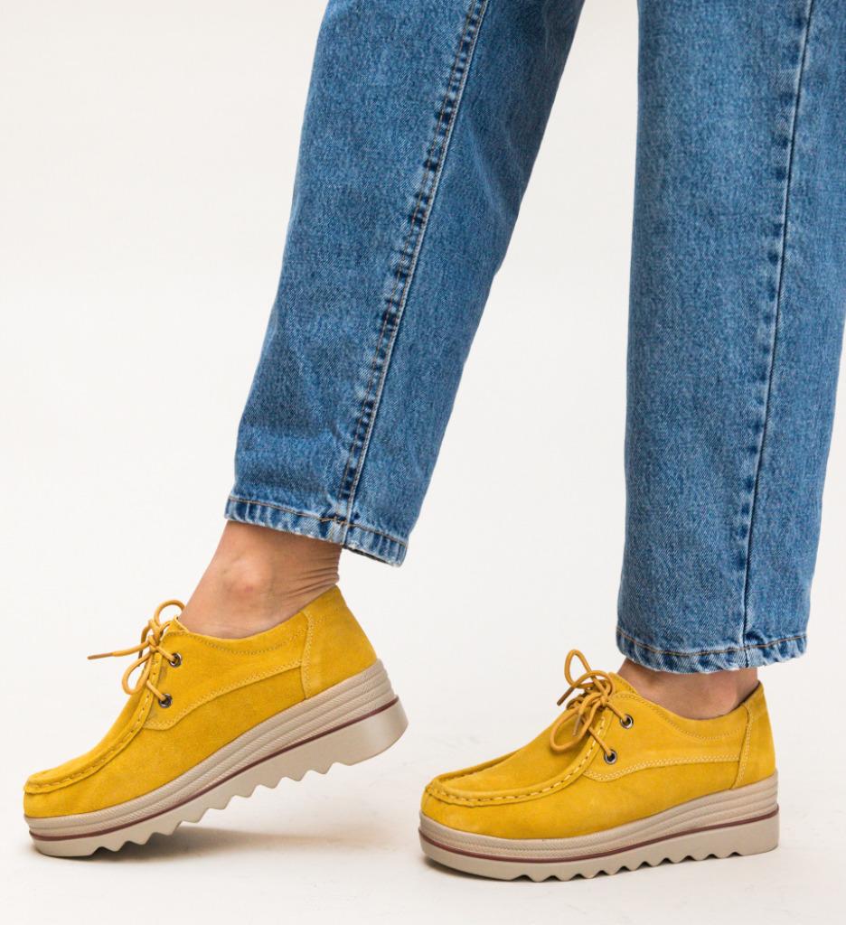 Pantofi Casual Almond Galbeni