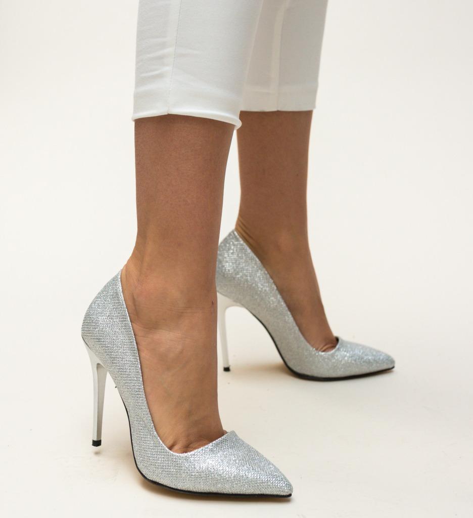 Pantofi Jendo Argintii
