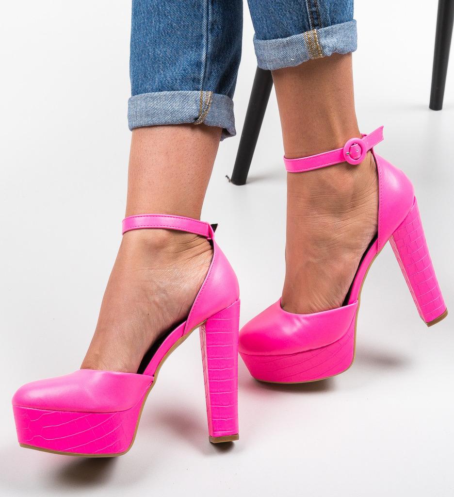 Pantofi Krista Roz Neon