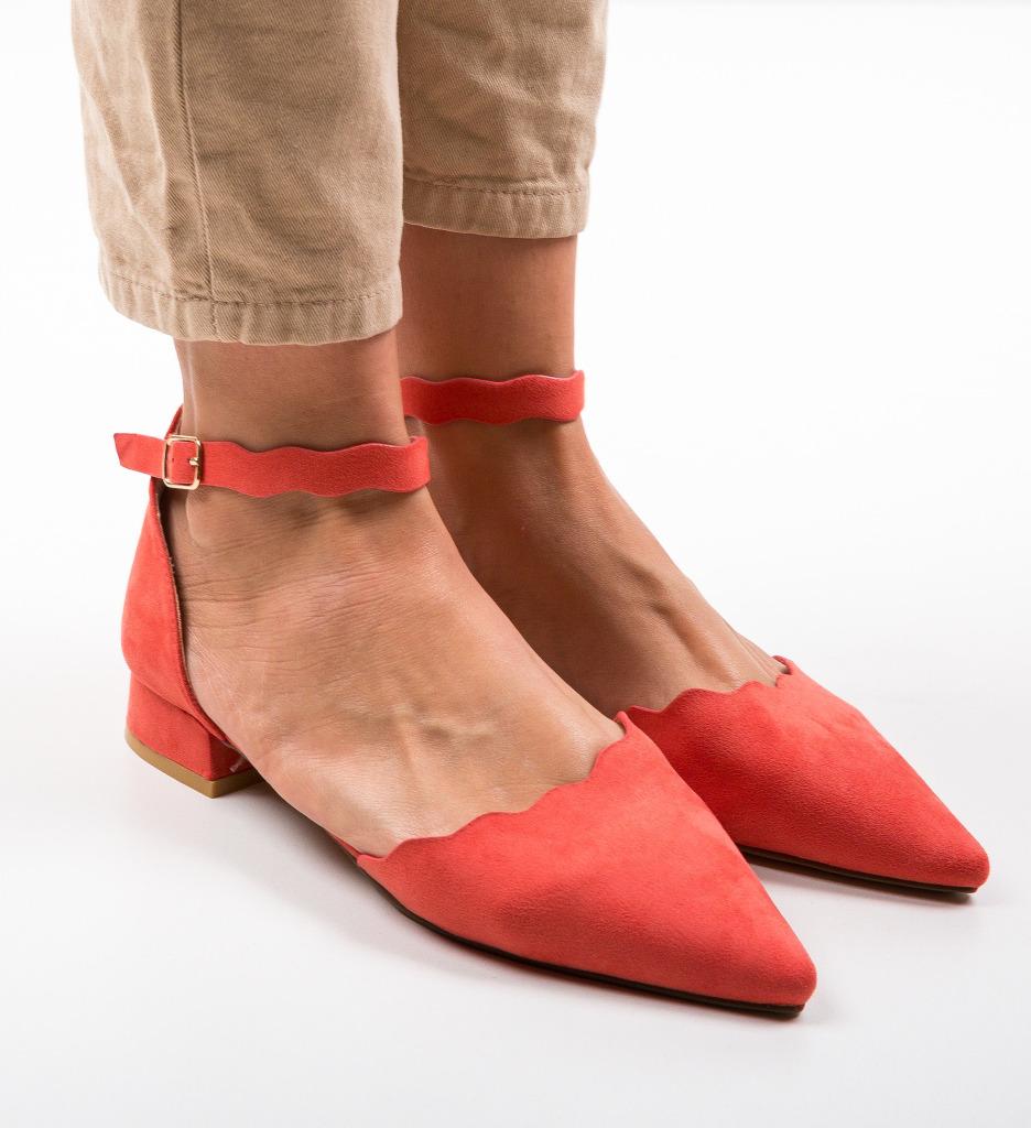 Pantofi Wood Corai