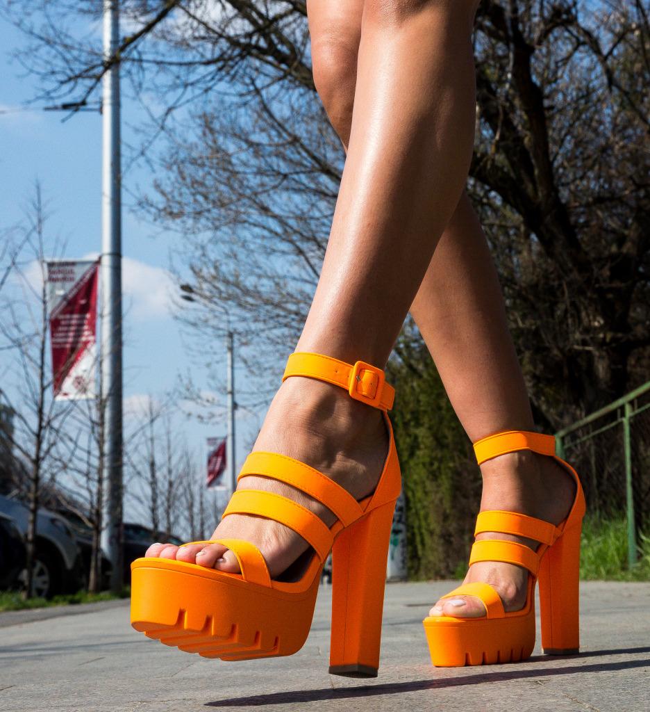 Sandale Bannist Portocalii Neon