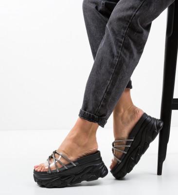 Papuci Crystal Negri