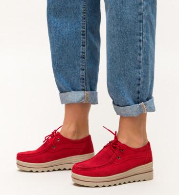 Pantofi Casual Almond Rosii