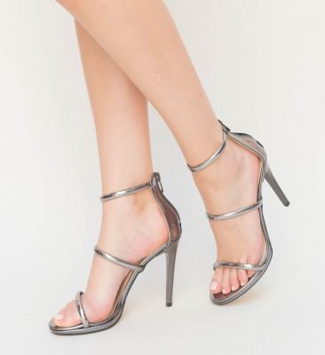 Sandale Cu Toc Kim Gri