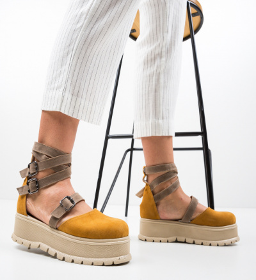 Pantofi Casual Deluxema Galbeni 2