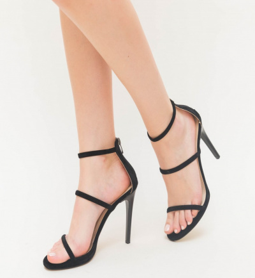 Sandale Cu Toc Kim Negre