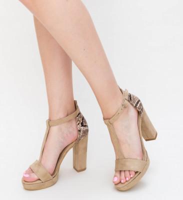 Sandale Cu Toc Kena Bej