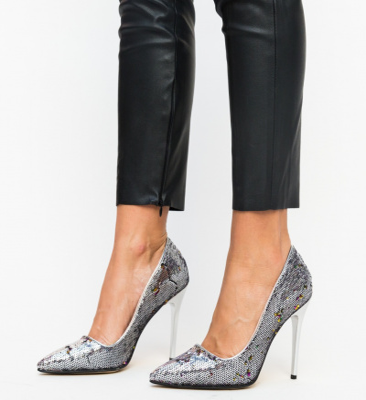 Pantofi Cameo Argintii