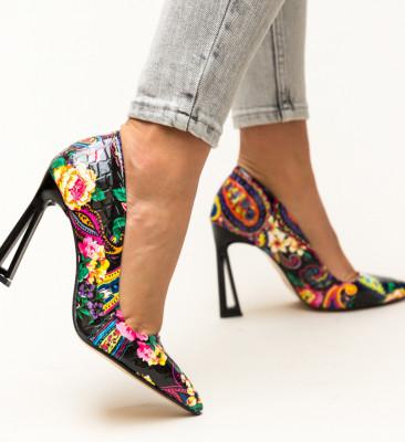 Pantofi Floral Negri